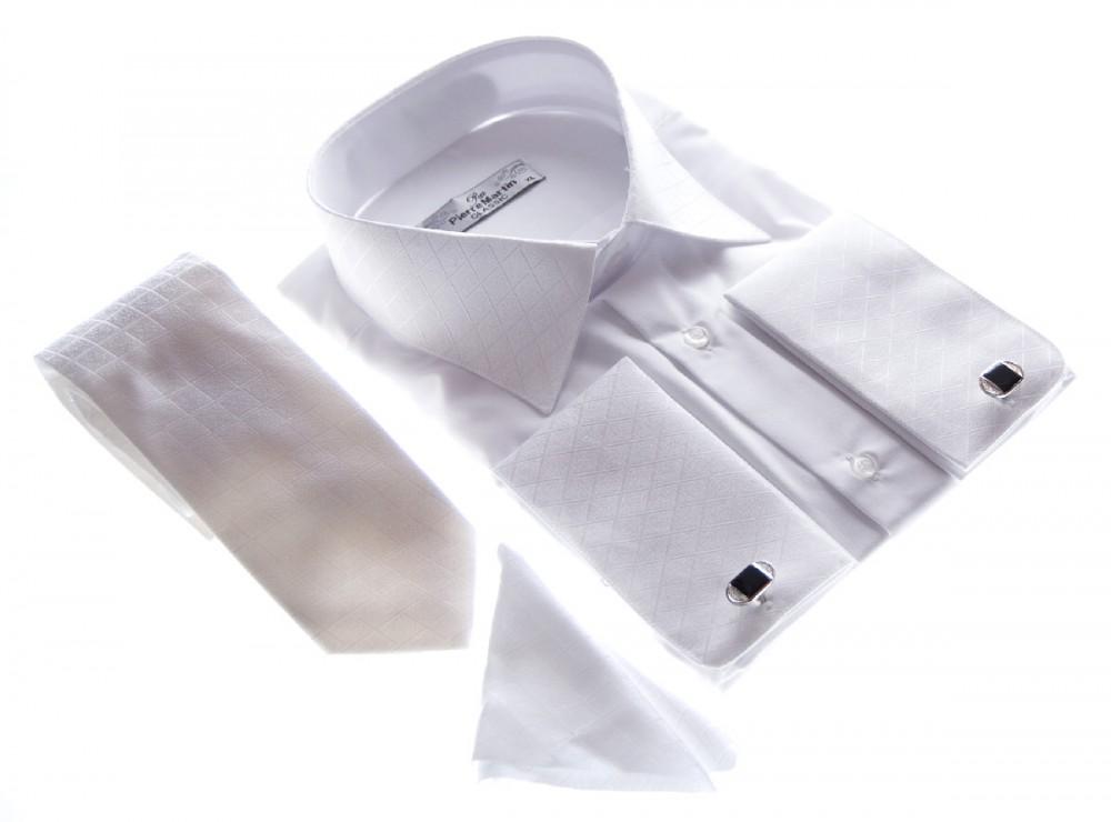 herren hemd wei f r manschettenkn pfe mit krawatte und. Black Bedroom Furniture Sets. Home Design Ideas
