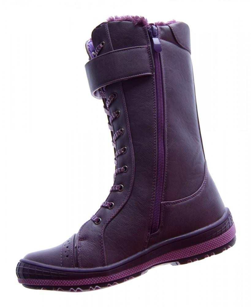 Kinder Stiefel Winter Schuhe gefüttert Schwarz Weiß Lila