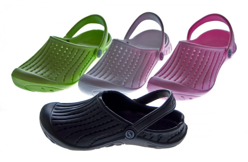 damen clogs schuhe schwarz wei rosa gr n latschen bade sandalen ebay. Black Bedroom Furniture Sets. Home Design Ideas