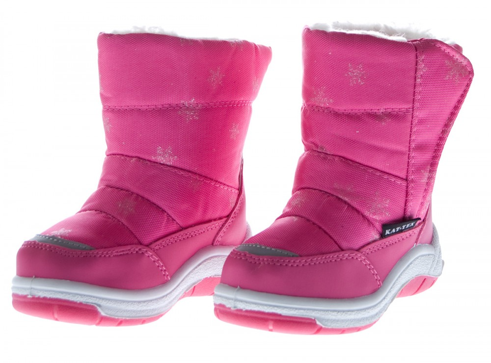 Kinder-Stiefel-Winter-Schnee-Schuhe-gefuettert-Boots-Outdoor-Blau-Pink-KAT-TEX Indexbild 2