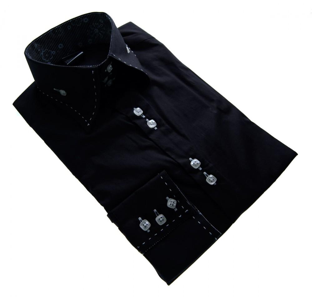 herren designer hemd klassischer kragen 3 knopf slim fit. Black Bedroom Furniture Sets. Home Design Ideas