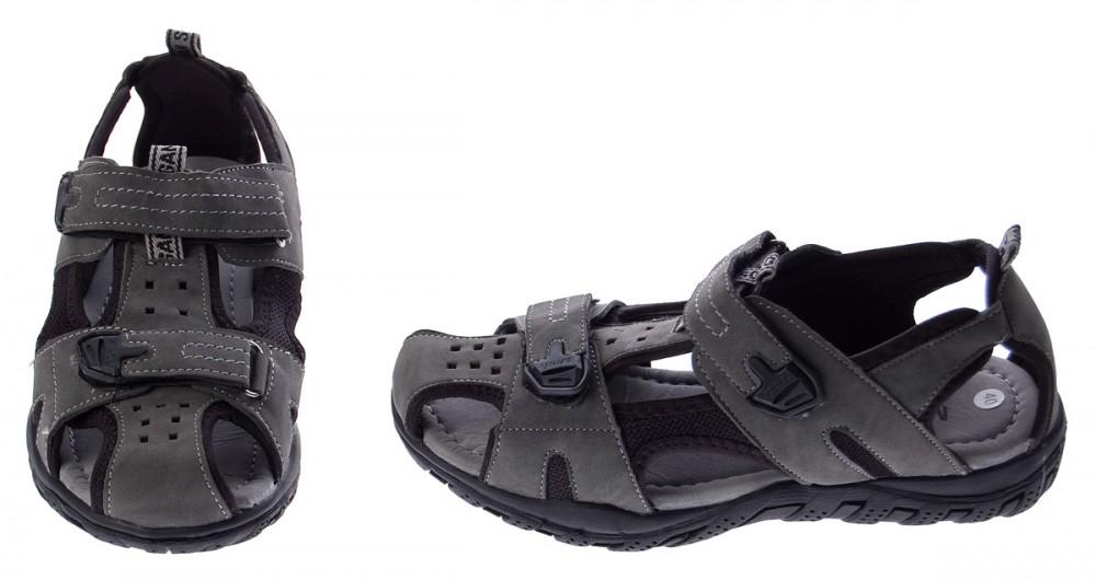 sandalen herren geschlossen leicht flexibel schuhe grau sandaletten klettverschl ebay. Black Bedroom Furniture Sets. Home Design Ideas