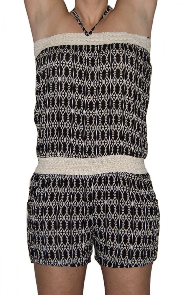 damen overall shorts hose schwarz smaragd gr n kurz jumpsuit neckholder gr m l one size damen. Black Bedroom Furniture Sets. Home Design Ideas