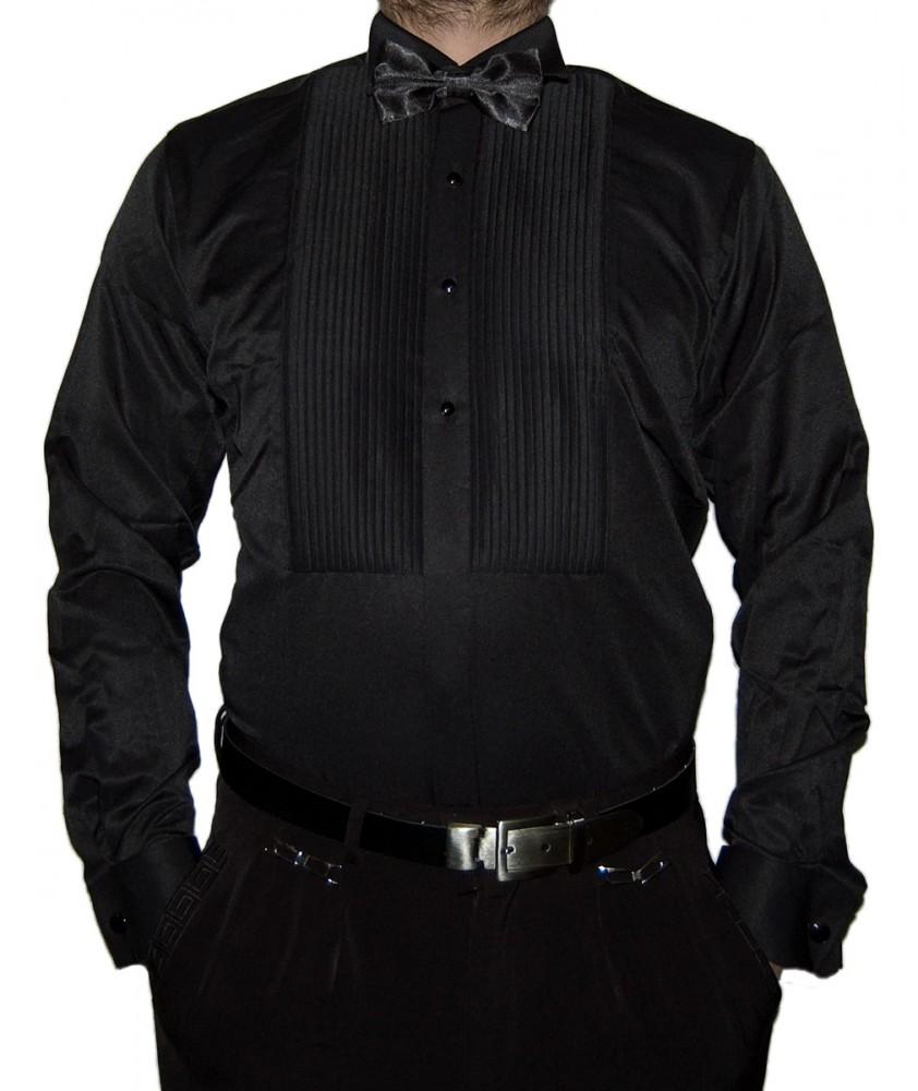 herren designer smoking hemd slim fit business hochzeit fliege plissee manschettenkn pfe s15. Black Bedroom Furniture Sets. Home Design Ideas