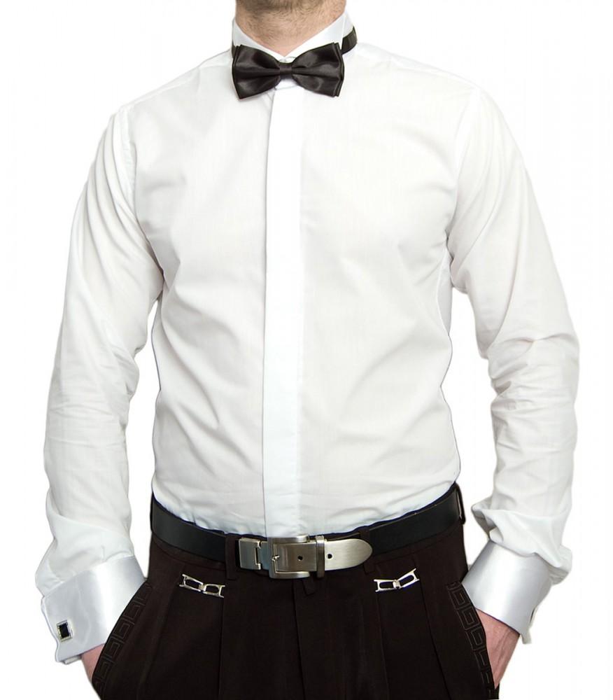 designer smokinghemd wei mit schwarzer fliege herren hemd mit manschettenkn pfe smoking kragen. Black Bedroom Furniture Sets. Home Design Ideas