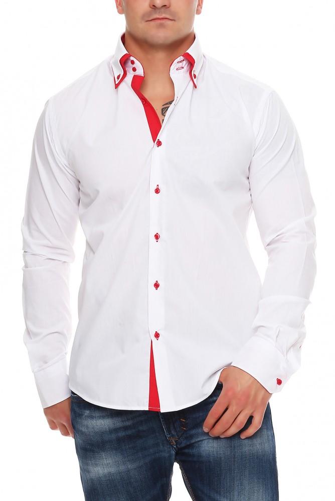 Herren designer freizeit hemd tailliert 2 kragen herrenhemd slim fit neu m xxl ebay - Herren hemd ohne kragen ...