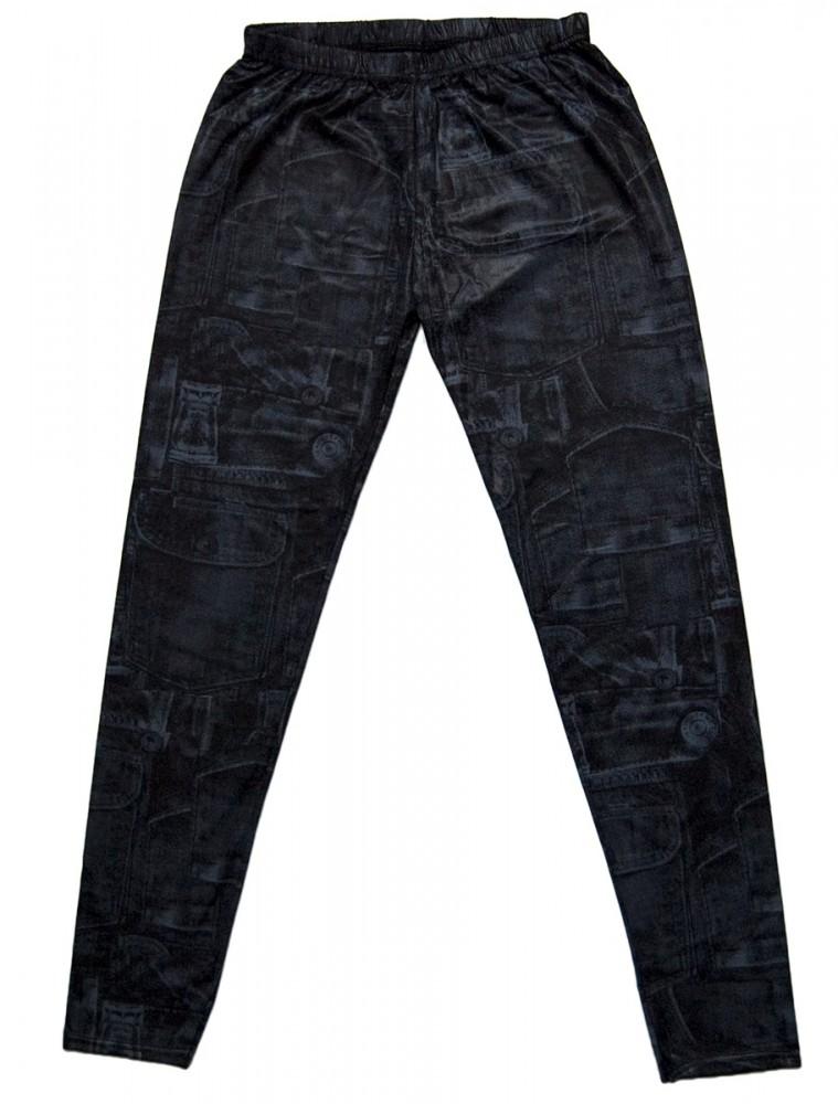 damen leggings schwarz grau gummizug jeans optik skinny. Black Bedroom Furniture Sets. Home Design Ideas