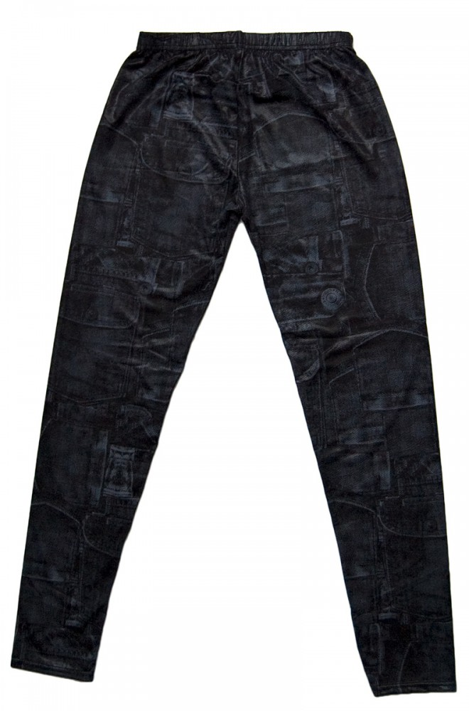 damen leggings schwarz grau gummizug jeans optik skinny hose damen bekleidung jeans. Black Bedroom Furniture Sets. Home Design Ideas