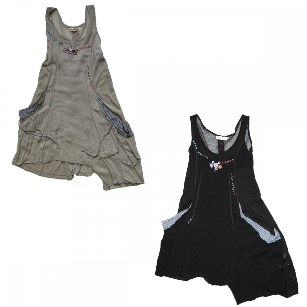 damen kleid ohne rmel ziern hte schwarz grau knitter look knielang kn pfe sommerkleid damen. Black Bedroom Furniture Sets. Home Design Ideas