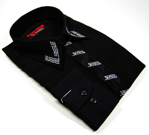 weisses herren hemd mit schwarzen kragen der verzierte schwarze. Black Bedroom Furniture Sets. Home Design Ideas