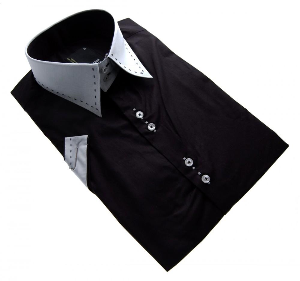 designer herren hemd klassischer kragen 2 knopf tailliert slim fit herrenhemd kurzarm schwarz. Black Bedroom Furniture Sets. Home Design Ideas